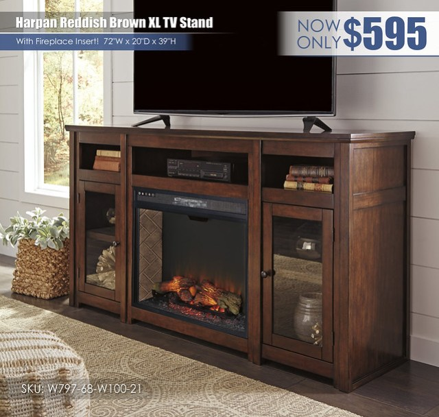 Harpan Reddish Brown XL TV Stand_wFireplace_W797-68-W100-21