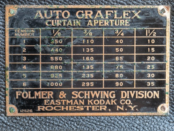 Auto Graflex Single Lens Reflex camera - settings plaque