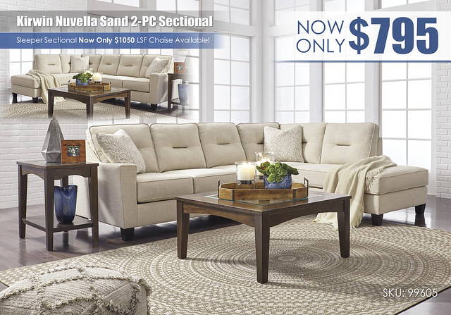 Kirwin Nuvella Sand 2PC Sectional_99605