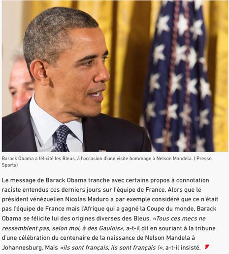 18g17 LEquipe Pour Barack Obama, les Bleus «ne ressemblent pas tous à des Gaulois, mais ils sont français !»