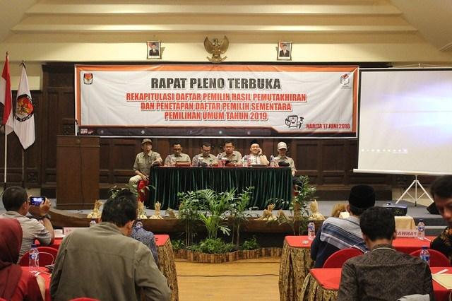 Ketua KPU Suprihno, M.Pd., saat membuka acara rapat pleno terbuka rekapitulasi DPHPP DPS Pemilu 2019 di Hotel Narita (17/6)
