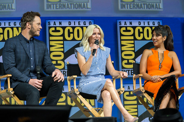 Chris Pratt, Elizabeth Banks and Stephanie Beatriz