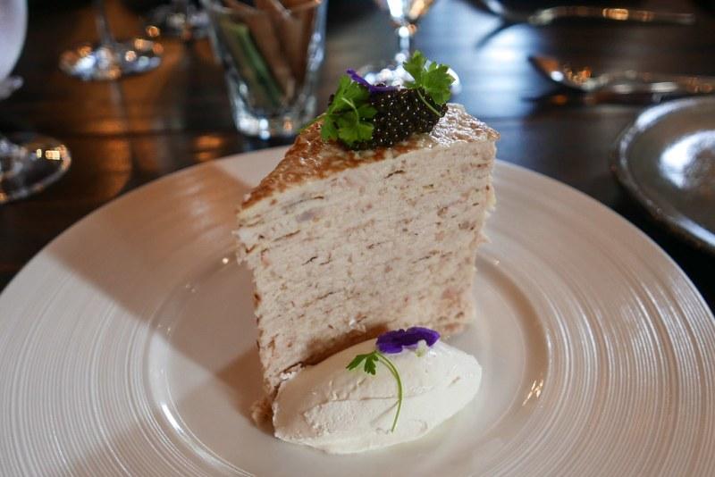 Osetra Reserve Caviar Crepe Cake, Smoked sturgeon, crème fraiche, cultured butter $23