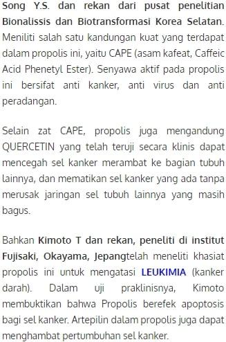 bukti ilmiah propolis berdasarkan penelitian para ahli