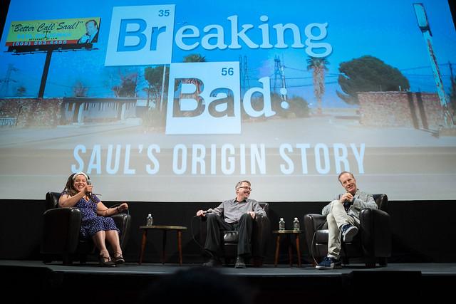 Moderator Sarah Rodman, Vince Gilligan and Bob Odenkirk