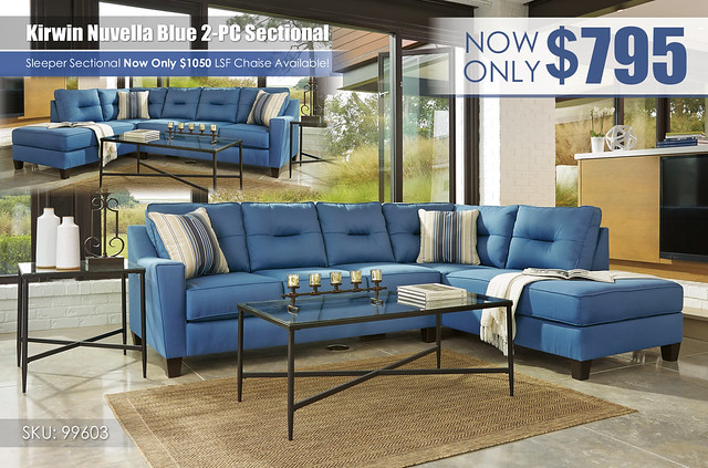 Kirwin Nuvella Blue 2PC Sectional_99603