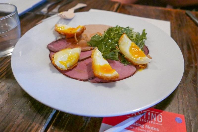 Vitello Tonnato - Poached Piemontese beef, tuna citrus caper aioli, frisee, crispy egg