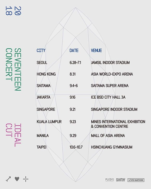 SEVENTEEN IDEAL CUT CONCERT TOUR SCHEDULE