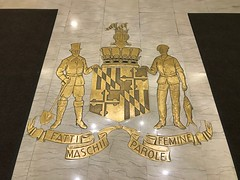 Decorative inlay on floor, Chase Brexton Health Care/Former Monumental Life Building (1926), 1111 N. Charles Street, Baltimore, MD 21201