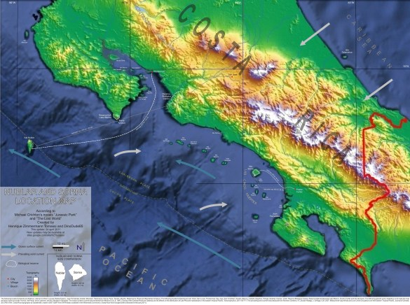 Regional map Isla Nublar and Sorna Costa Rica Jurassic Park Site B