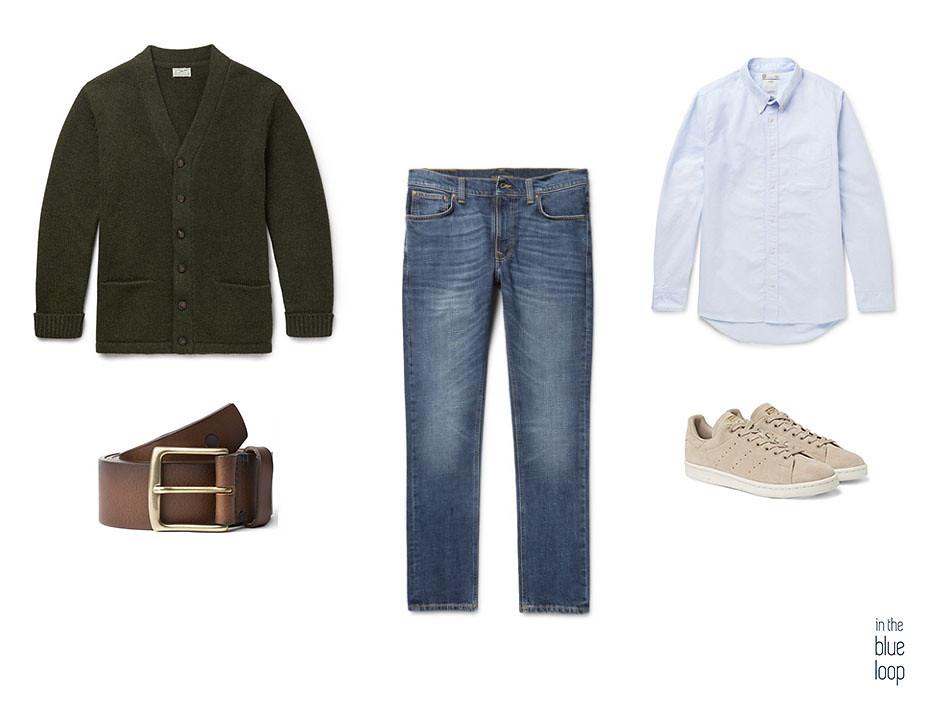 Look casual masculino con jeans o vaqueros, cardigan, cinturón garoé de Blue Hole, camisa azul y sneakers