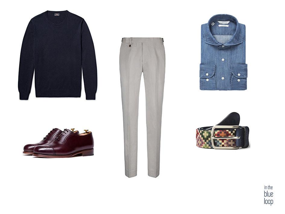 El look smart-casual con zapatos oxford marrones, pantalón de vestir, cinturón tauce para hombre de Blue Hole, sweater azul marino y camisa azul