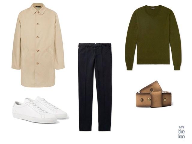 Chubasquero con sneakers blancas, cinturón masculino Famara de Blue Hole, sneakers blancas, pantalón y jersey
