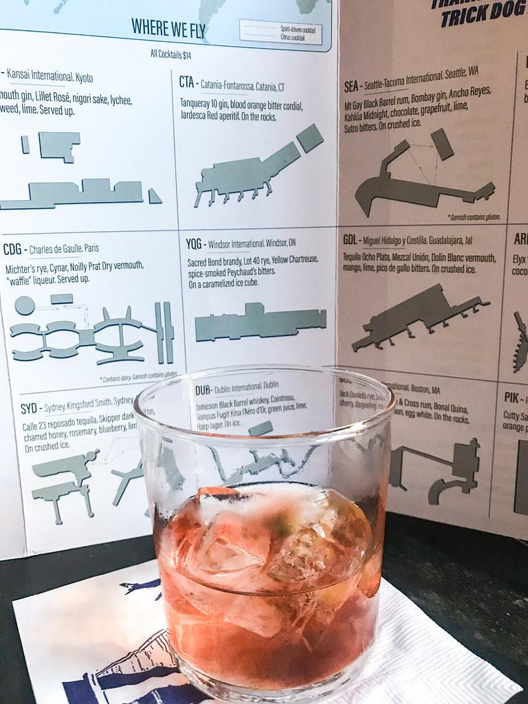 CTA Catania-Fontarossa, Catania, CT - Tanquery 10 gin, Jardesca Red apertif, housemade blood orange bitter cordial. On the rocks.