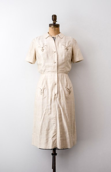 Vintage 1960s cream silk chinese knot dress