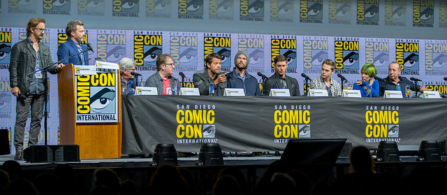 Moderators Richard Spreight Jr. and Rob Benedict with Robert Singer, Andrew Dabb, Misha Collins, Jared Padalecki, Jensen Ackles, Alexander Calvert, Eugenie Ross-Leming and Brad Buckner