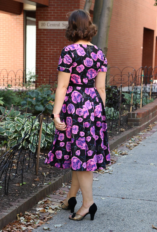 Purple roses and spiderwebs dress