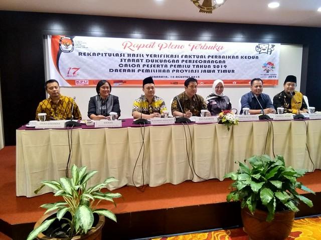 Suasana rekapitulasi hasil verifikasi faktual perbaikan kedua syarat dukungan perseorangan calon peserta pemilu 2019 daerah pemilihan Provinsi Jatim di Elmi Hotel Embong Kaliasin Genteng Kota Surabaya (18/8)