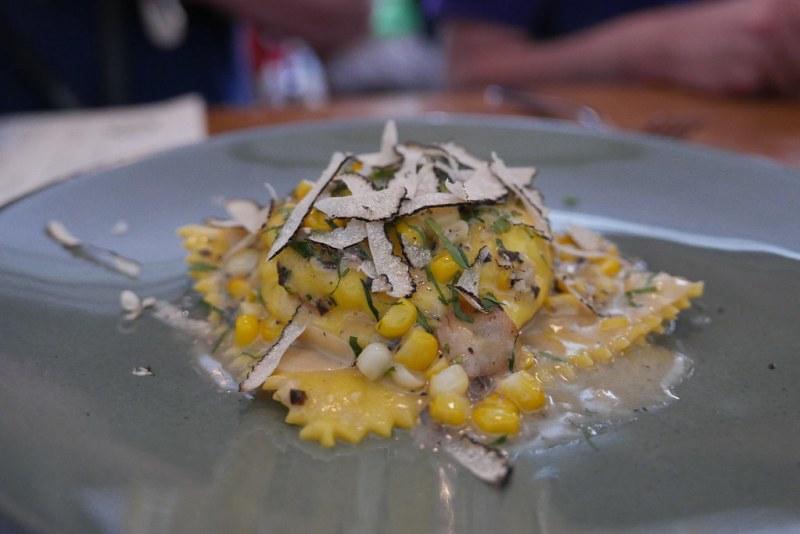 Egg Yolk Raviolo, Castelmagno, ricotta, zucchini, Savini truffle, toasted garlic $24
