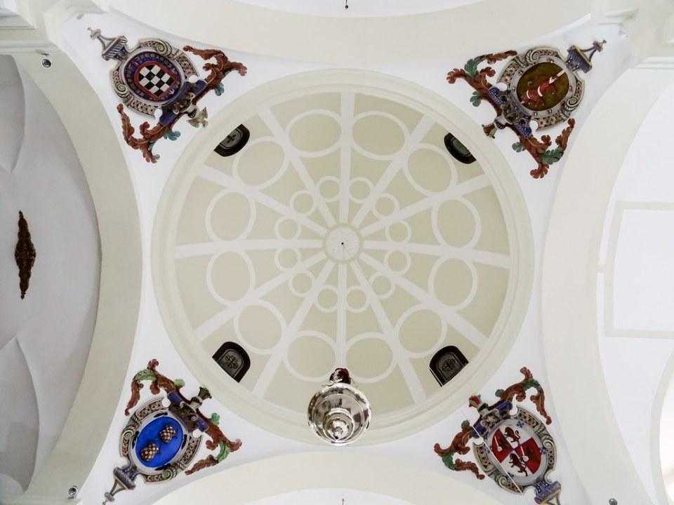 cupula escudos interior Iglesia Santuario Virgen de las Nieves Bolaños De Calatrava Ciudad Real