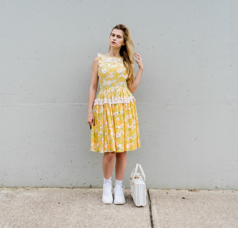 vintage 1950's yellow swing dress with sneakers