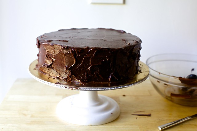 double layer chocolate cake, rustic