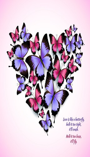 Colorful butterflies heart shape pattern