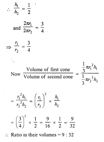 RD Sharma Class 10 Solutions Chapter 14 Surface Areas and Volumes  VSAQS 2