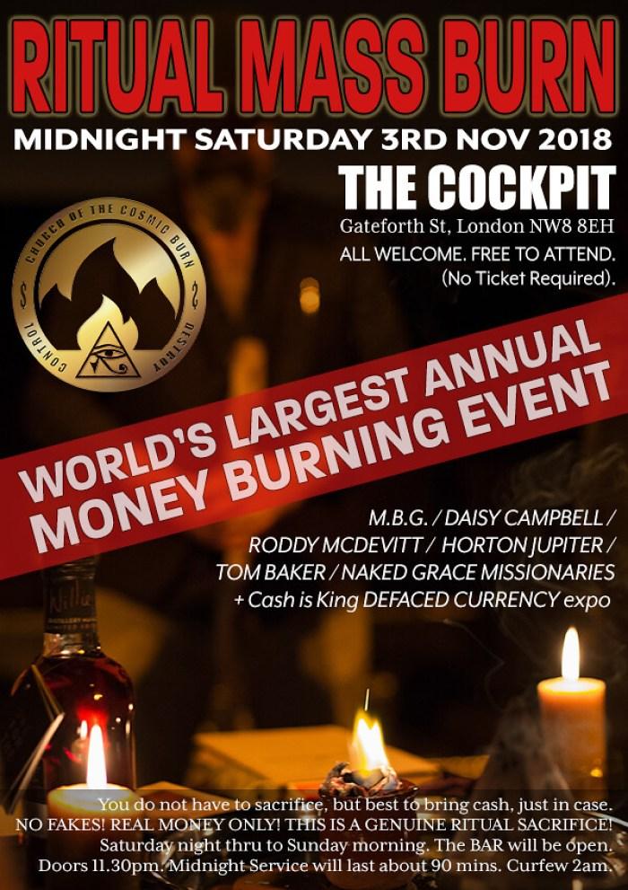Ritual Midnight Mass Burn – Saturday 3rd November 2018 at The Cockpit, London