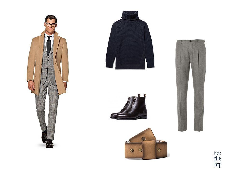 Look smart-casual con pantalón de vestir gris, jersey de cuello vuelto, botas negras y cinturón famara de blue hole