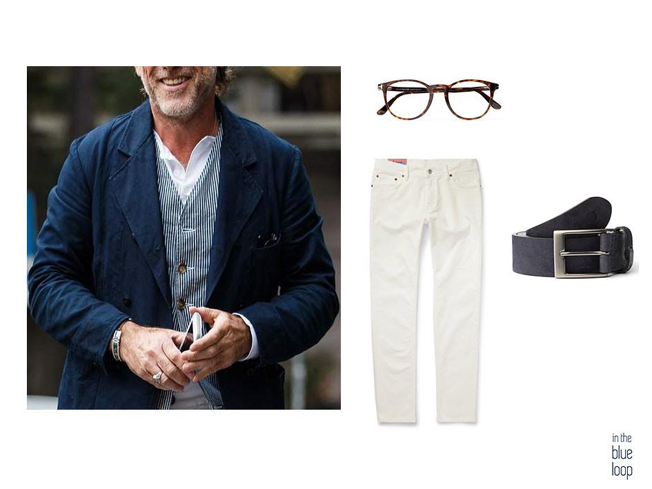 Look casual masculino con vaqueros o jeans blancos, gafas de pasta y cinturón Igara de blue hole