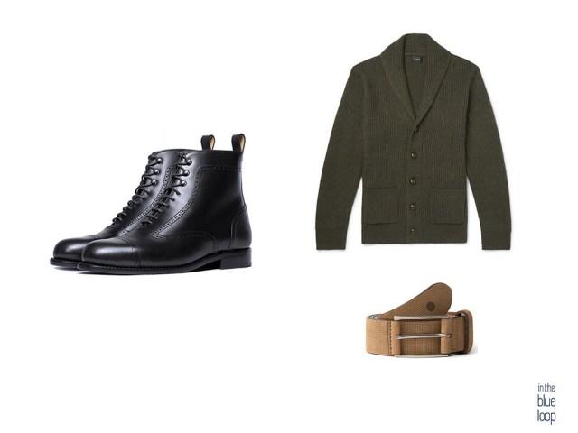 3 piezas para hombre con botas, cardigan y cinturón anaga de blue hole men
