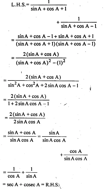 ML Aggarwal Class 10 Solutions for ICSE Maths Chapter 19 Trigonometric Identities Chapter Test 7a