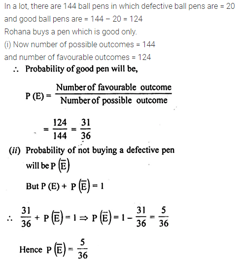 ML Aggarwal Class 10 Solutions for ICSE Maths Chapter 24 Probability Chapter Test 3