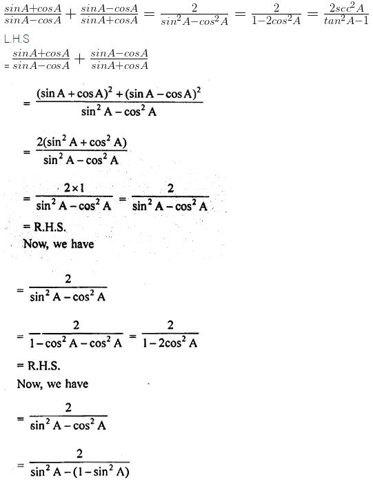 ML Aggarwal Class 10 Solutions for ICSE Maths Chapter 19 Trigonometric Identities Chapter Test 10