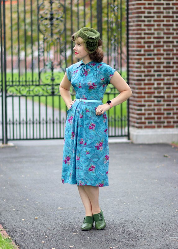 Aqua floral-and-bow 1940s dress