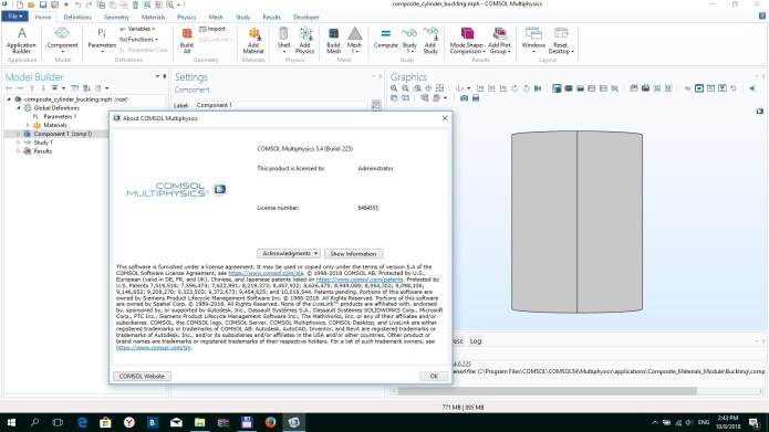 Working with COMSOL Multiphysics 5.4.0 full license