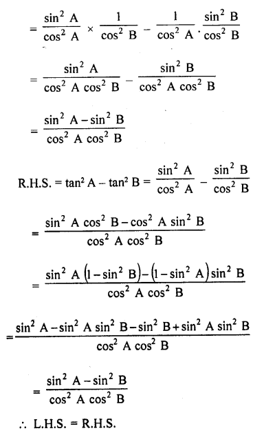 RD Sharma Solutions Class 10 Chapter 6 Trigonometric Identities