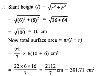 RD Sharma Class 9 PDF Chapter 20 Surface Areas and Volume of A Right Circular Cone