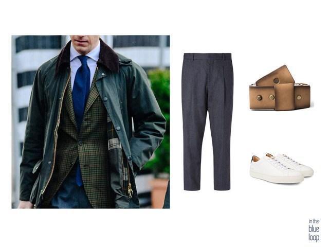 Look smart-casual con sneaker blancas, pantalón de vestir y cinturón Famara