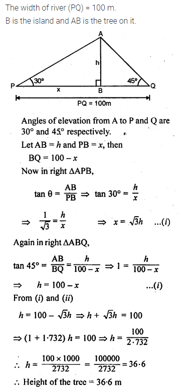 ML Aggarwal Class 10 Solutions for ICSE Maths Chapter 21 Heights and Distances Chapter Test 9