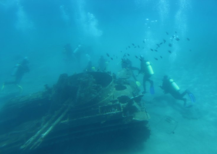 Tank and corals in the Red Sea, Aqaba