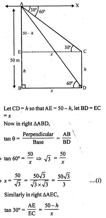 RD Sharma Class 10 Solutions Chapter 12 Heights and Distances Ex 12.1 - 62