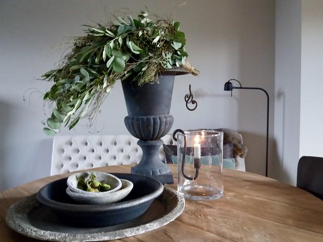 Franse vaas groene toef windlicht houten schalen