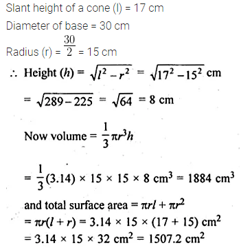 ML Aggarwal Class 10 Solutions for ICSE Maths Chapter 18 Mensuration Chapter Test 3