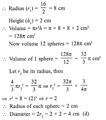 RD Sharma Class 10 Solutions Chapter 14 Surface Areas and Volumes MCQS 25