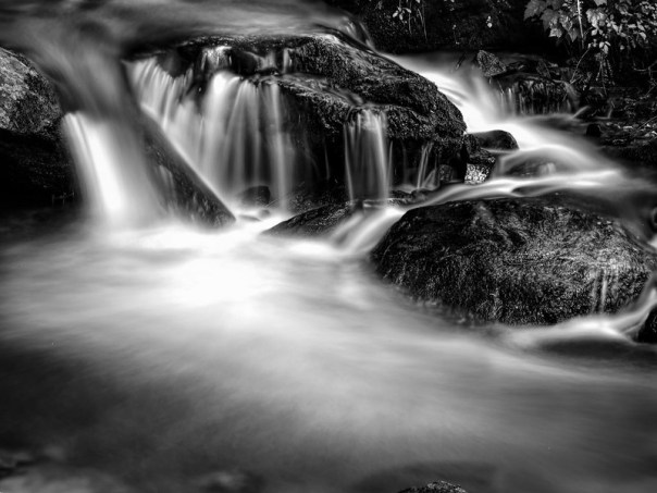 Rocks, water, light - and time - in black and white