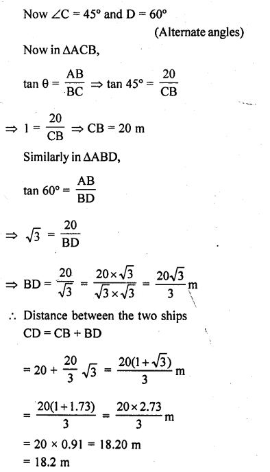 RD Sharma Class 10 Solutions Chapter 12 Heights and Distances Ex 12.1 - 42a