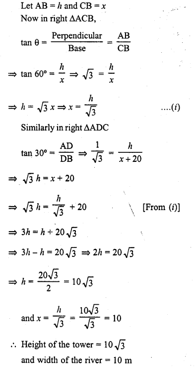 RD Sharma Class 10 Solutions Chapter 12 Heights and Distances Ex 12.1 - 27a