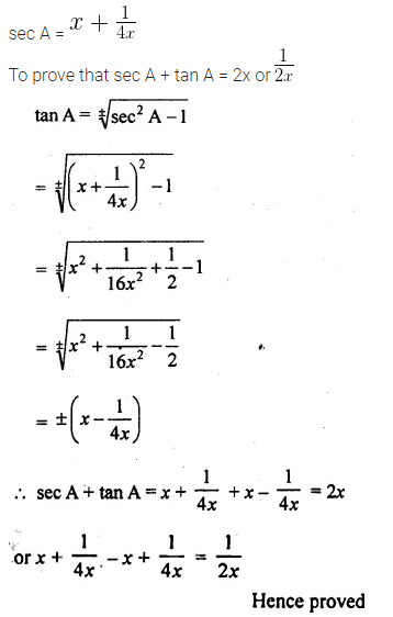 ML Aggarwal Class 10 Solutions for ICSE Maths Chapter 19 Trigonometric Identities Chapter Test 15